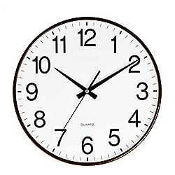 SANNIX Silent Decorative Round Non-ticking Quartz Digital Wall Clock-Coffee,14inch