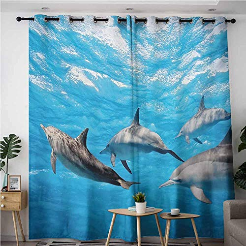 AndyTours Kids Curtains,Dolphin,Great for Living Rooms & Bedrooms,W96x72L,Blue Grey