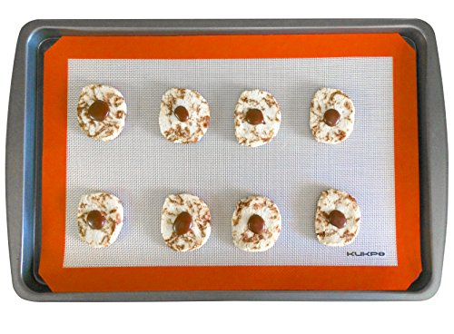 "KUKPO (TM) FDA Approved Non-Stick Silicon Baking Mat Set – 2 Pack Cookie Mat Set - (16 ½"" x 11"") In Size – Easy-To-Clean And Durable"