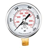 "Winters PEM Series Steel Dual Scale Economical All Purpose Pressure Gauge with Brass Internals, 0-5000 psi/kpa, 2-1/2"" Dial Display, +/-3-2-3% Accuracy, 1/4"" NPT Bottom Mount"
