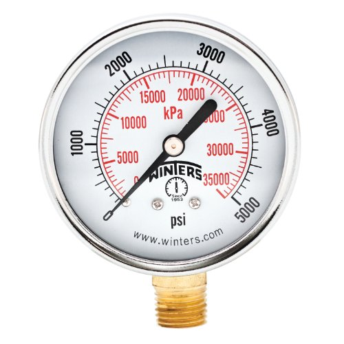 5000 Psi Pressure Gauge (Winters PEM Series Steel Dual Scale Economical All Purpose Pressure Gauge with Brass Internals, 0-5000 psi/kpa, 2-1/2