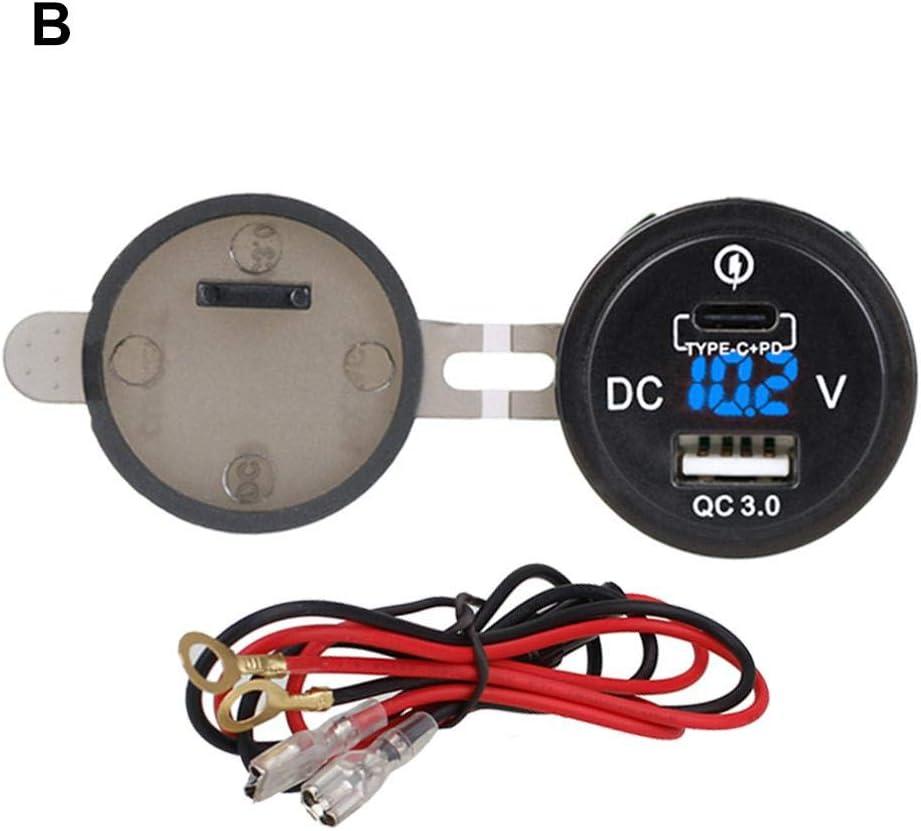 Makluce Cargador para Coche 12V-24V USB LED Display 3.0 Cargador De Carga Rápida para Coche Accesorios para Coche Regalo De Cumpleaños