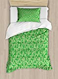 Ambesonne Yoga Duvet Cover Set Twin Size, Women Silhouettes Meditation Poses Pattern Fitness Healthy Lifestyle Hobbies Relaxing, Decorative 2 Piece Bedding Set with 1 Pillow Sham, Lime Green