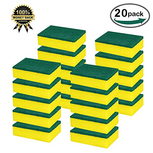 Homsolver Heavy Duty Multi-Use Cleaning Sponges Crub - Non-Scratch Magic Eraser Sponge - Scrubbing Dish Sponges Use for Kitchens, Bathroom, Car & Odor Free - 20 pack