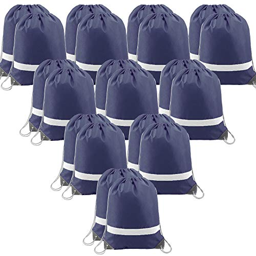 - Navy-Drawstring-Backpacks-Bag Reflective Cinch Bags 20 Pack, Promotional Sports Gym Sack Pack String Bags