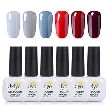 Gel de uñas Soak Off, Rojo Gris esmalte de uñas Gel polaco Kits de regalo por ukiyo Generic