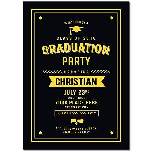 Amazon Com Black And Yellow Graduation Party Invitation Handmade
