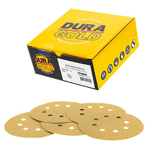 "Dura-Gold - Premium - 100 Grit - 5"" Gold Sanding Discs - 8-Hole Dustless Hook and Loop for DA Sander - Box of 50 Finishing Sandpaper Discs for Woodworking or Automotive"