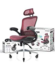 NOUHAUS ErgoFlip Mesh Computer Chair - Rolling Desk Chair with Retractable Armrest and Blade Wheels Ergonomic Office Chair, Gaming Chairs, Executive Swivel Chair/High Spec Base