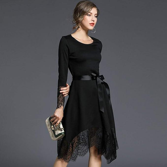 zysymx Temperamento del Vestido Negro de Las Nuevas Mujeres ...