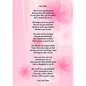 Nan Personalised Poem Certificate Gran Grandma Nanna Nanny Mother's Day Gift