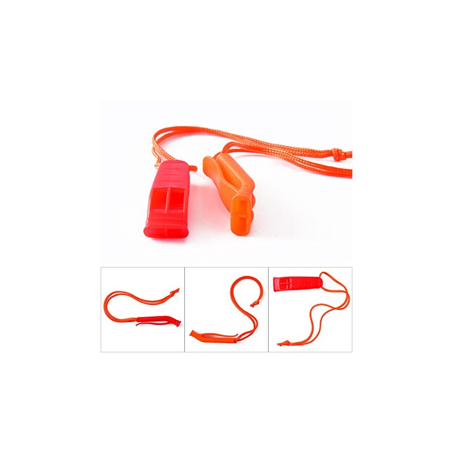 Shappy 8 Pieces Emergency Whistle Safety Whistles Plastic Whistle Set for Boating Hiking Camping, Red and Orange