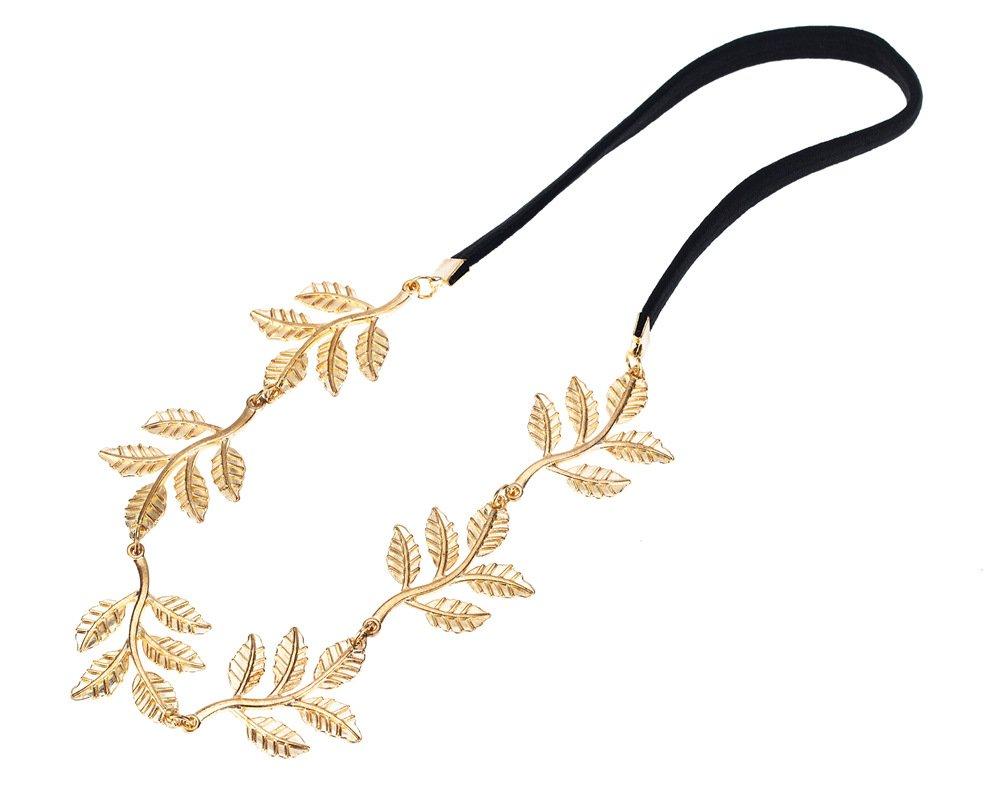 Girls Black & Gold Metallic Leaf Style Hair Head Band Headband Hairband By VAGA®