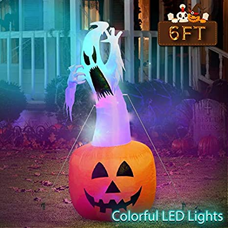 Amazon.com: OurWarm 6ft Halloween Inflatable Blow Up Ghost on Pumpkin with Color Changing LED Inflatables Halloween Outdoor Decorations: Garden & Outdoor