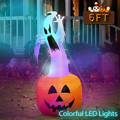 Ghost On Halloween (OurWarm 6ft Halloween Inflatable Blow Up Ghost on Pumpkin with Color Changing LED Inflatables Halloween Outdoor)