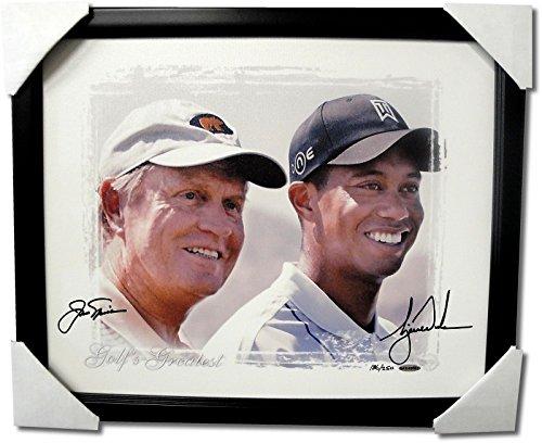 - Tiger Woods Jack Nicklaus Dual Hand Signed Autographed Custom Framed Canvas UDA