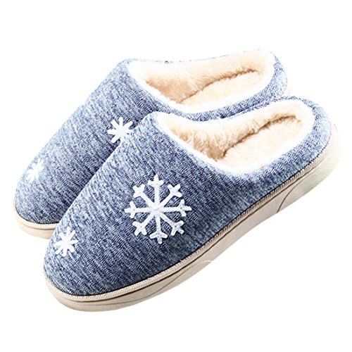 Winzik Femmes Hommes Hiver Coton Pantoufles Douillettes En Peluche Doublé Flocon De Neige Motif Anti-dérapant Semelles Maison Intérieure Chaussures Chaudes Bleu