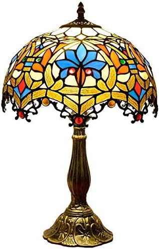 Estilo Tiffany vendimia Mesita de luz de la lámpara del vidrio ...