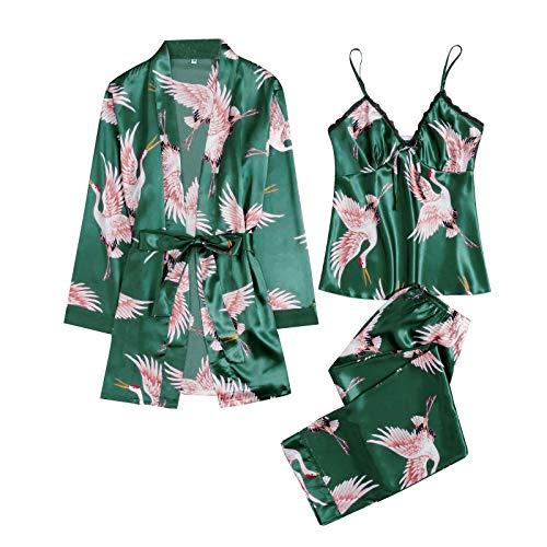 Maythere Dames Satijnen Pyjama Set Lange Mouw 3-Delige Nachtkleding Hemdje Broek Nachtkleding Vrouwelijke Nachtkleding…
