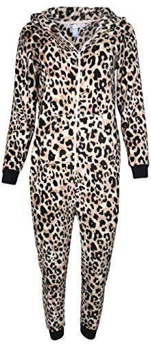 Pillow Talk Women\'s Sleepwear Coral Fleece Hooded Non Footed Onesie Pajama with Pockets, Black/Rose Leopard, -