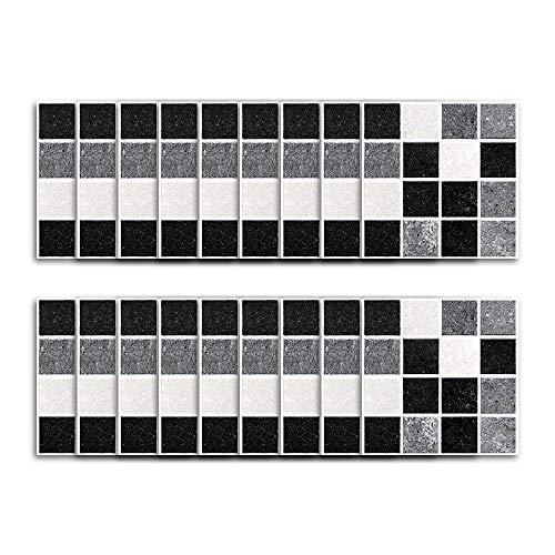 homker Pegatinas de Azulejos de Baño de PVC de Mosaico Blanco Y Negro, Adhesivos de Pared Autoadhesivos,10cm×10cm,18 Piezas