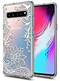 Galaxy S10 5G Case Huness TPU Grip Bumper and Clear Flower Transparent Hard PC Backplate Hybrid Slim Phone Case Compatible for Samsung Galaxy S10 5G Phone (Flower)