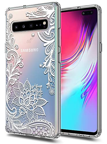 (Galaxy S10 5G Case Huness TPU Grip Bumper and Clear Flower Transparent Hard PC Backplate Hybrid Slim Phone Case Compatible for Samsung Galaxy S10 5G Phone (Flower))
