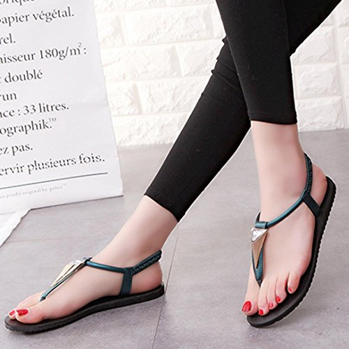 Shoes Leisure Flat Strap Bohemia No Women Buckle Wedges Shoes Diamonds Sandal Toe Boho Peep Summer Sandals Bovake Ankle Sandals Ladies Rubbing Heels Outdoor Ladies Green Flop Flip Shoes Footwear 7CHqwPcY