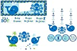 Ocean Preppy Boy Party Decorations Supply Pack - Bundle Includes: Hanging Cutouts, Giant Party Banner, and Centerpiece