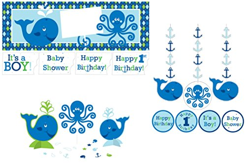 Ocean Preppy Boy Party Decorations Supply Pack - Bundle Includes: Hanging Cutouts, Giant Party Banner, and (Whale Baby Shower Theme)