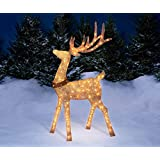5 Foot Gold Champagne Buck Deer Display Outdoor Christmas Yard Lawn Decoration