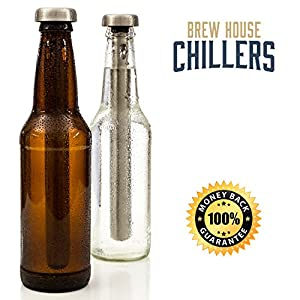 Brew House Beer Chillers – Boxed Gift Set includes 2 Stainless Steel Drink Chiller Sticks – made with highly advanced cooling technology