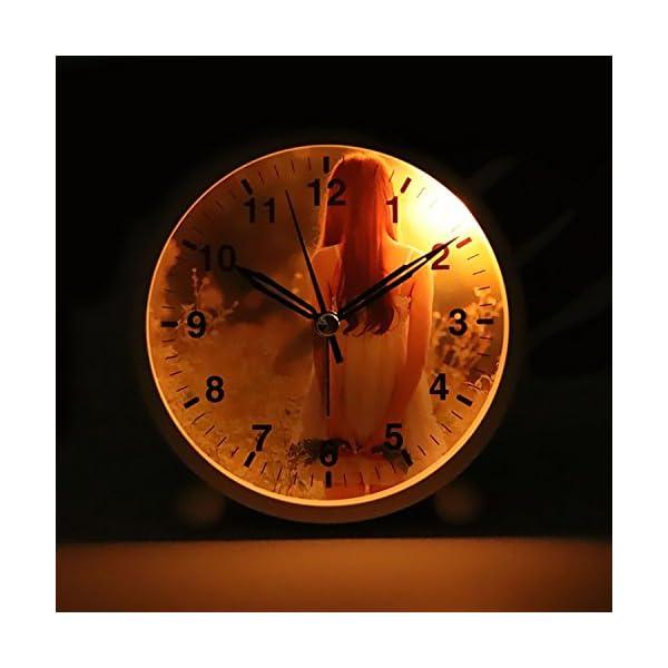Cute Color Alarm Clock, Round Metal Desk Clock Portable Clocks with Night Light House Decorations -520.swiss-shepherd-dog-dog-white-animal-46523 (Black) 3