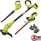 Ryobi ONE+ 18-Volt Lithium-Ion Cordless Trimmer/Blower/Hedge Combo Kit - Two 1.3Ah Batteries and Charger Include