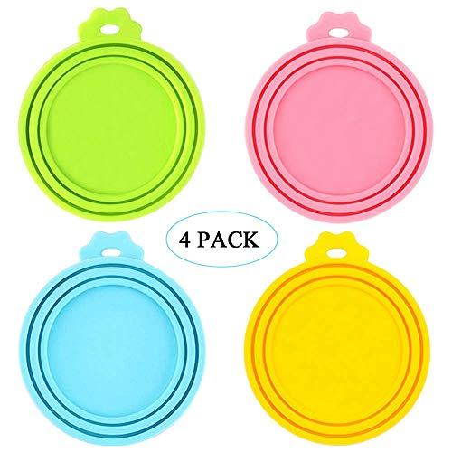 IVIA Pet Food Can Lids, Universal BPA Free Silicone Can Lids Covers for Dog and Cat Food, One Can Cap Fit Most Standard Size Canned Dog Cat Food(4 Pack ()
