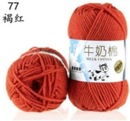 FUHUA Hilo Algodón de Leche Hilo de Ganchillo Suave Hilado de bebé DIY para Tejer Lana Tejido de Punto Tejido a Mano Crochet DIY 50g Tejido Crochet Algodón, 77 he Hong: Amazon.es: