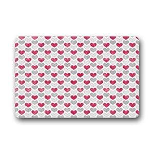 Forma de Corazón Patrón antideslizante de goma puerta Mat piso Doormats 23,6x 15,7pulgadas