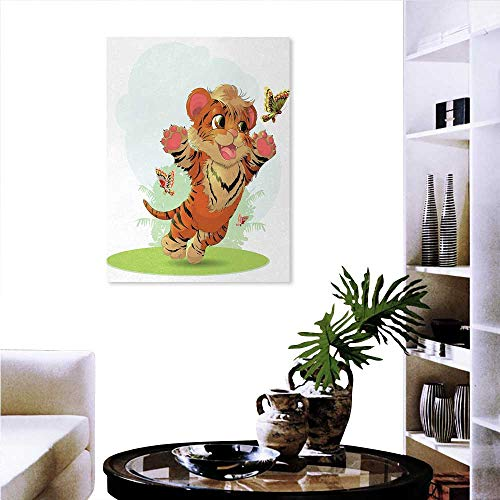 (Anniutwo Cartoon everlands Art Flower Canvas Print Art Wall Deco Cub Playing with Butterflies in The Meadow Joyful Lively Baby Tiger Cat Wall Hole Sticker 32