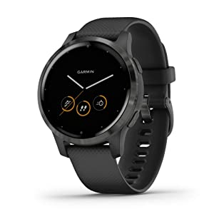 Garmin vívoactive 4, GPS Smartwatch, Features Music, Body Energy Monitoring, Animated Workouts, Pulse Ox Sensors and More, Black