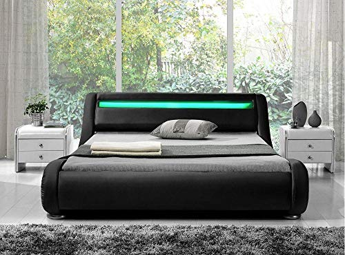(Milo Italia Cambridge Collection CAMBRI-KG-BK-01 King Size Platform LED Bed in Black)
