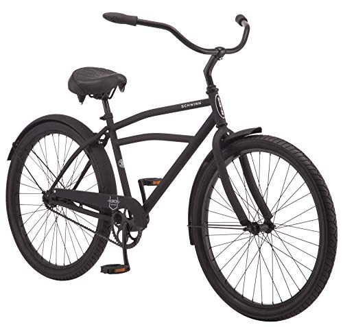 Schwinn Huron Men's Cruiser Bike, Featuring 17-Inch/Medium Steel Frame, Single-Speed Drivetrain, Full Front and Rear Fenders, and 26-Inch Wheels, Black