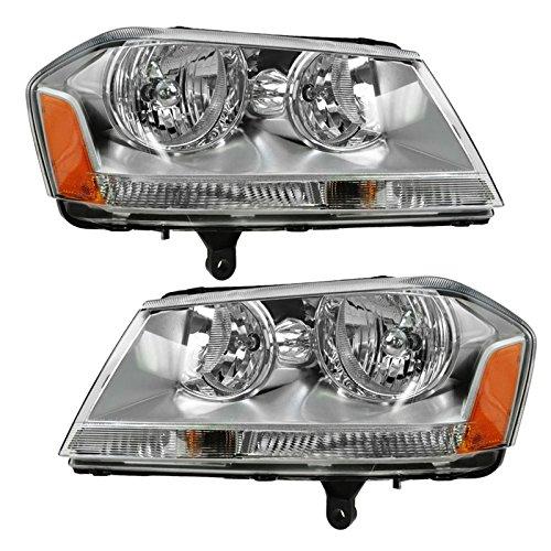 Headlights Headlamps Left & Right Pair Set for 08-10 Dodge Avenger SXT SE