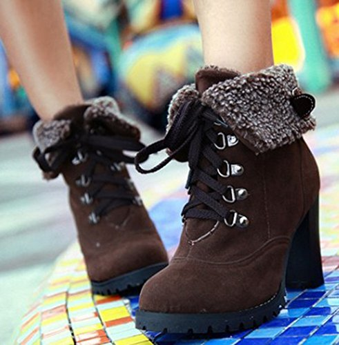 IDIFU Womens Vintage Round Toe Faux Fur High Block Heels Lace Up Ankle Boots Short Martin Booties Brown bVNBU8qowX