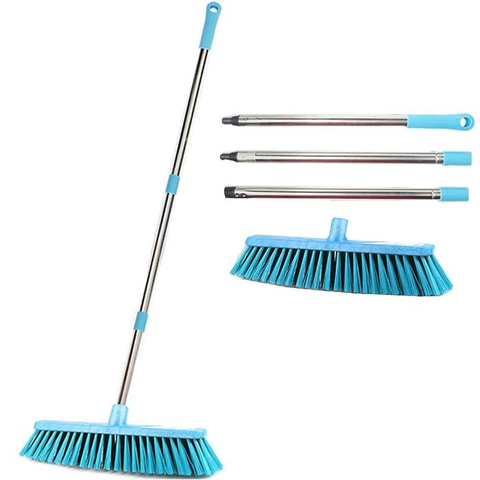 "JEBBLAS 18"" Wide Floor Scrub Brush With Long Handle Commercial Push Broom Patio Broom Heavy Duty Deck Scrubber Boat Scrub Brush Stiff Outdoor Yard Sweeping Brush Heavy Duty Garden Broom Sweeper"