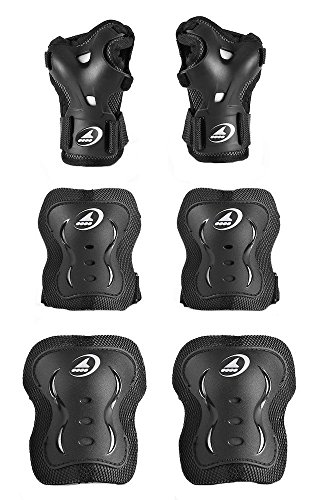 Rollerblade Bladegear XT Jr 3 Pack Black XS & Headband Bundle ()