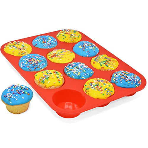 (Perlli Top Quality 12 Cup Silicone Muffin Pan - Cupcake Mold Nonstick - Bpa Free Food Grade - Large Muffin Tin Baking Cups Liners - Reusable Rubber Bakeware Trays - Dishwasher Microwave Oven Safe)