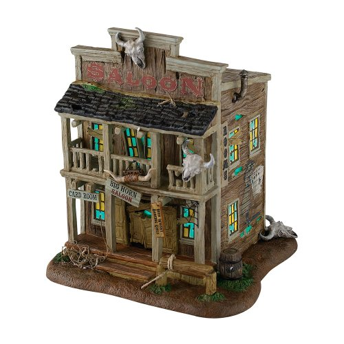 Department 56 Snow Village Halloween Big Horn Saloon Lit House, 8.66 inch