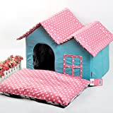 VIP small washable House Dog Kennel cat litters super soft POLY VELOUR bear dog house pet pet House , blue
