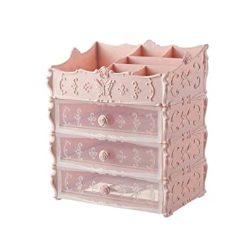 64e853fefc07 iHomei Plastic Cosmetic Drawer Container Makeup Organizer Box For ...