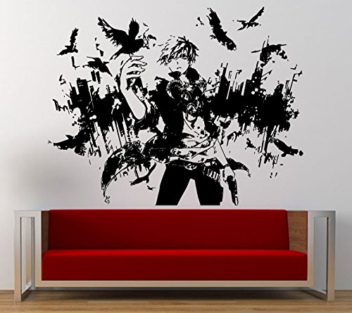 Night Crow Anime Male Boy City View Skyline Birds Wall Graphic Decal Sticker Vinyl Mural Leaving Bedroom Room Home Decor L247